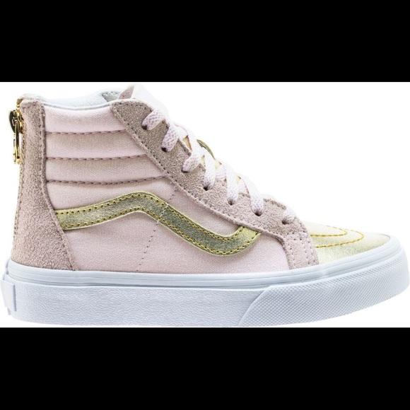 Vans Shoes | Kid Pink And Metallic Gold